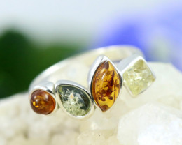 Natural Baltic Amber Sterling Silver Ring size 7 code GI 164