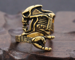 Skull Guitar Ring -Gold plated Titanium size 8 code CCC 1352