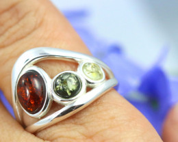 Natural Baltic Amber Sterling Silver Ring size 6 code GI 173