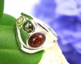 Natural Baltic Amber Sterling Silver Ring size 7 code GI 176