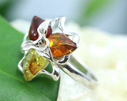 Natural Baltic Amber Sterling Silver Ring size 6 code GI 209