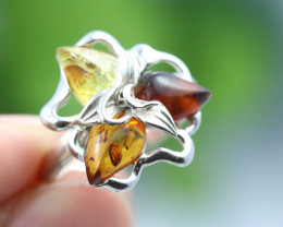 Natural Baltic Amber Sterling Silver Ring size 7 code GI 212