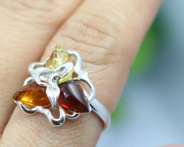 Natural Baltic Amber Sterling Silver Ring size 7 code GI 213