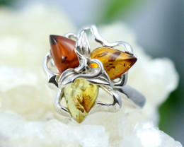 Natural Baltic Amber Sterling Silver Ring size 8 code GI 215