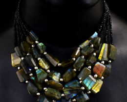 5 Line Amazing Flash Labradorite & Faceted  Spinel  Beads Necklace