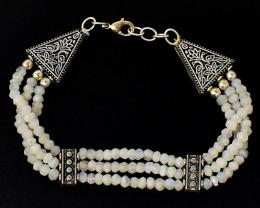 Faceted Moonstone Beads Designer Bracelet