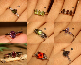 natural 925 sterling silver gemstone rings lot