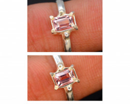 7.70 Ct Silver Ring ~ With Natural Pink Tourmaline Stone