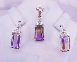 Natural Ametrin Earrings And Pendant.