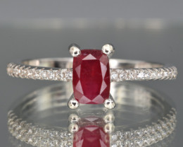 Natural Ruby , CZ and 925 Silver Ring