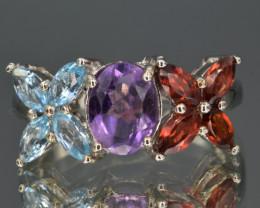 Natural Amethyst , Topaz , Rhodolite Garnet and 925 Silver Ring