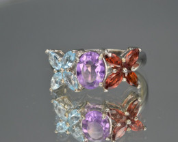 Natural Amethyst , Topaz , Rhodolite Garnet and 925 Silver Ring