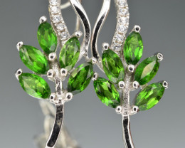 Natural Green Chrome Diopside  and 925 Silver Earring