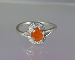 Natural 10.70  Carats rare orange clinohumite with cz 925 Silver Ring