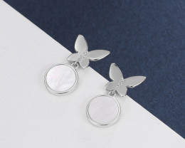 Cute Modern pearl reflection 925 Sterling Silver Earrings CCC 1405