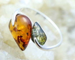 Natural Baltic Amber Sterling Silver Ring size 8 code GI 227