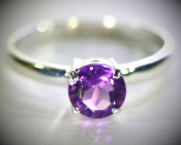 Amethyst .70ct Platinum Finish Solid 925 Sterling Silver Ring