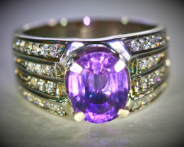 Amethyst 2.25ct Platinum Finish Solid 925 Sterling Silver Ring