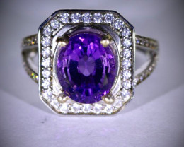 Amethyst 2.30ct Platinum Finish Solid 925 Sterling Silver Ring