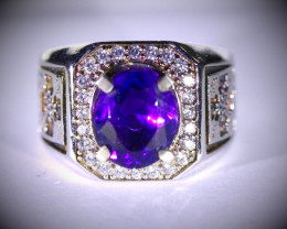 Amethyst 2.80ct Platinum Finish Solid 925 Sterling Silver Ring