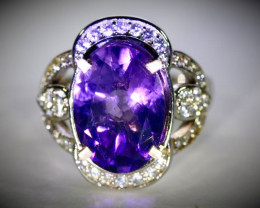 Amethyst 4.10ct Platinum Finish Solid 925 Sterling Silver Ring
