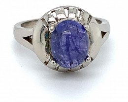 Tanzanite 3.65ct Platinum Finish Solid 925 Sterling Silver Ring