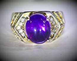 Amethyst 4.60ct Platinum Finish Solid 925 Sterling Silver Ring