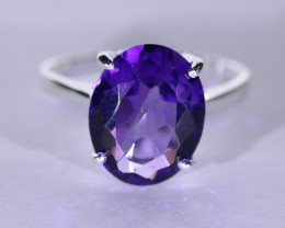 Amethyst 5.15ct Platinum Finish Solid 925 Sterling Silver Ring
