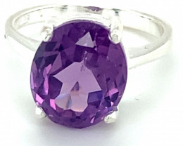 Amethyst 5.20ct Platinum Finish Solid 925 Sterling Silver Ring