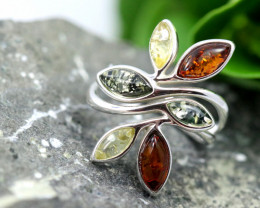Natural Baltic Amber Sterling Silver Ring size 8 code GI 261