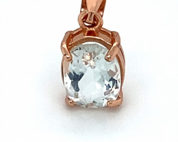 Aquamarine 1.30ct Rose Gold Finish Solid 925 Sterling Silver Pendant