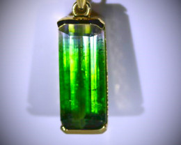 BiColor Tourmaline 15.80ct Solid 18K Yellow Gold Pendant
