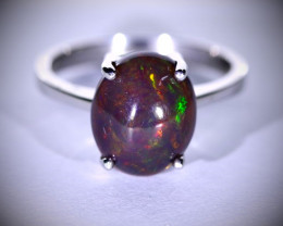Black Opal 3.30ct Platinum Finish Solid 925 Sterling Silver Ring