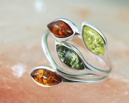 Natural Baltic Amber Sterling Silver Ring size 8 code GI 272