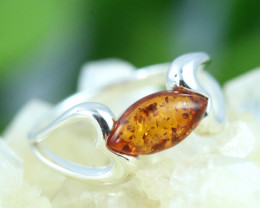 Natural Baltic Amber Sterling Silver Ring size 9 code GI 280
