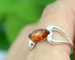 Natural Baltic Amber Sterling Silver Ring size 10 code GI 282