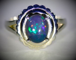 Blue Opal 2.40ct Platinum Finish Solid 925 Sterling Silver Ring