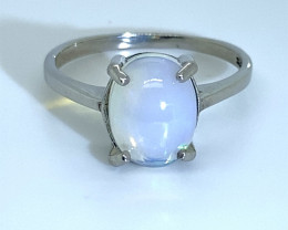 Blue Opal 3.26ct Platinum Finish Solid 925 Sterling Silver Ring