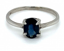 Blue Sapphire .87ct Platinum Finish Solid 925 Sterling Silver Ring
