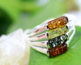 Natural Baltic Amber Sterling Silver Ring size 8 code GI 286