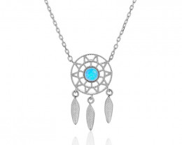 Dream Catcher- Cute Modern 925 Sterling Silver Pendant & chain CCC 1416