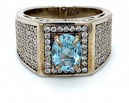 Blue Topaz 1.40ct Platinum Finish Solid 925 Sterling Silver Ring