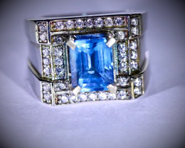 Blue Topaz 2.30ct Platinum Finish Solid 925 Sterling Silver Ring
