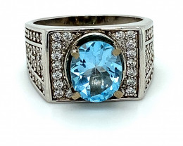 Blue Topaz 3.02ct Platinum Finish Solid 925 Sterling Silver Ring