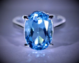 Blue Topaz 8.50ct Platinum Finish Solid 925 Sterling Silver Ring