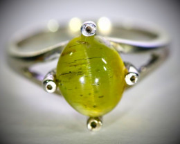 Green Cats Eye Apatite 2.80ct Solid 925 Sterling Silver Ring