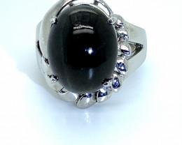 Cats Eye Scapolite 10.40ct Platinum Finish Solid 925 Silver Ring