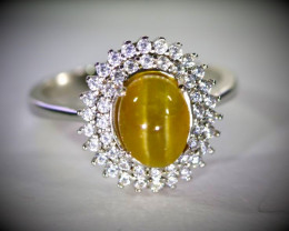 Cats Eye Yellow Apatite 3.10ct Platinum Finish Solid 925 Sterling Silver Ri
