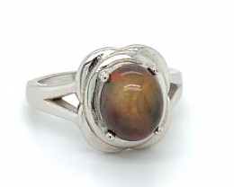 Chocolate Opal 2.40ct Platinum Finish Solid 925 Sterling Silver Ring