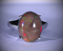 Chocolate Opal 7.10ct Platinum Finish Solid 925 Sterling Silver Solitaire R